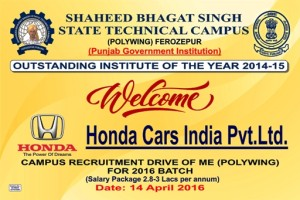 Honda Cars Placement Drive in Polytechnic Wing of SBS State Technical Campus